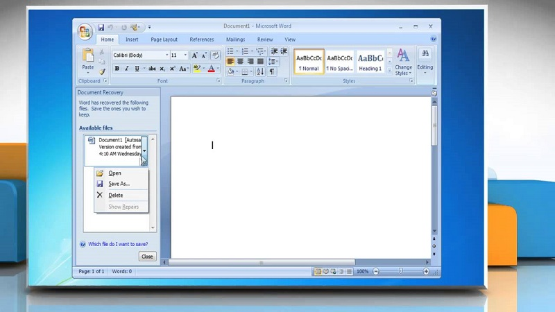 recover a corrupt word document